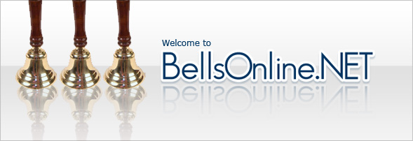 Banner with 3 brass bells with wood handles and reads - Welcome to BellsOnline.NET